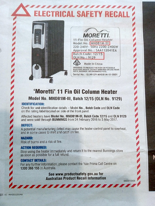Moretti Heater Recall Q Safe Testing And Tagging